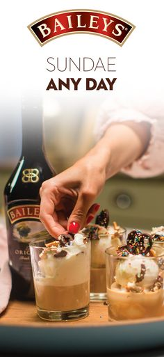 Baileys + Ice Cream = Our favorite summer treat! Ingredients: 2 oz Baileys Original Irish Cream, 2 scoops of vanilla ice cream, chocolate covered pretzels. Directions: Scoop ice cream into glass & add Baileys. Top with crushed chocolate-covered pretzels. Baileys Irish Cream, Irish Cream Drinks, Delicious Desserts, Dessert Recipes, Yummy Food, Healthy Desserts, Tasty, Summer Drinks, Fun Drinks