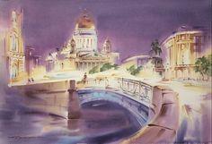 Petersburg_Paper/Water Colour by Konstantin Kuzema Watercolor Tips, Watercolor Techniques, Gouache Painting, Painting Art, Art World, Home Art, Taj Mahal, The Neighbourhood, Urban
