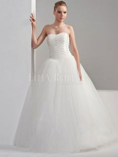 A-line Sweetheart Floor-length Chiffon Organza Wedding Dresses