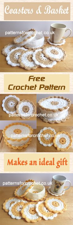 Free crochet pattern for coaster and basket. #crochet