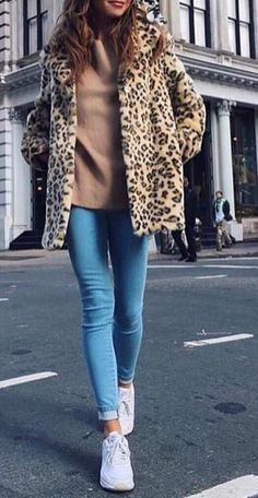 #winter #outfits Leopard Coat // Brown Sweater // Skinny Jeans // White Sneakers