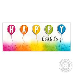 Sunny Studio Birthday Balloon Layering 3x4 Photo-polymer Clear Stamps - Sunny Studio Stamps