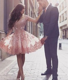 Pink off shoulder lace short prom dress, cute homecoming dress