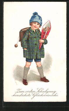 carte postale ancienne: CPA Herzlichen Glückwunsch zum Schulanfang, ABC-Schützin avec Mütze, Zuckertüte et Ranzen