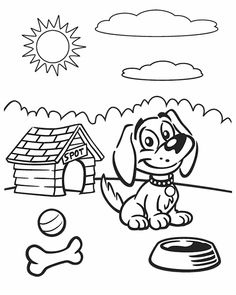 Dog on a sunny day - Free Printable Coloring Pages