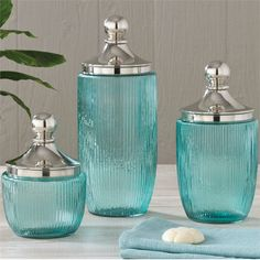 Charmant Coastal Aqua Ribbed Glass Jar Set Contains Blue Jars With Metal Lids  Featuring Seahorse, Shell