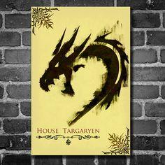 Game of Thrones retro poster minimalist art movie poster print art poster print 11x17 House Targaryen. $19.00, via Etsy.