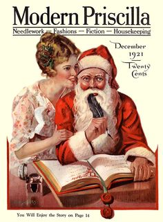 Vintage Christmas Magazine Cover....The charming cover of Modern Priscilla magazine, December 1921.