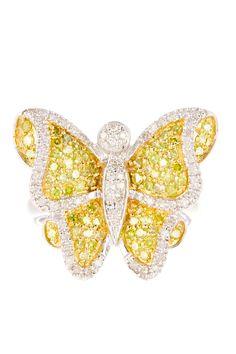 Yellow  White Diamond Butterfly Ring