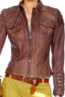 Women's Slim Fitted Biker Leather Jacket.  i want grey instead.