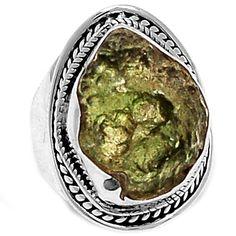 Genuine Czech Moldavite 925 Sterling Silver Ring Jewelry s.7.5 MLDR1498 - JJDesignerJewelry