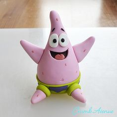 Crumb Avenue - Easy to follow cake topper tutorials | Tutorials | Patrick Star Fimo Disney, Polymer Clay Disney, Cake Topper Tutorial, Fondant Tutorial, Patrick Star, Polymer Clay Creations, Polymer Clay Crafts, Clay Monsters, Fondant Animals