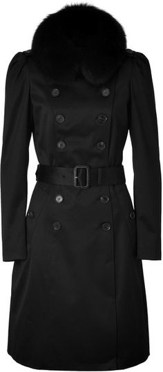 BURBERRY Black Satin Coat with Fox Fur Collar