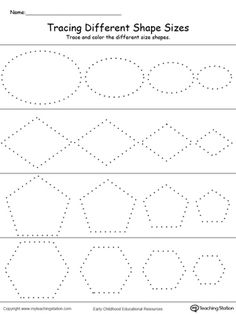 *FREE* Tracing Different Shape Sizes: Oval, Diamond, Pentagon and Hexagon: Trace and color different sizes of the same shape in this printable worksheet. Practice drawing oval, diamond, pentagon and hexagon shapes while working on fine motor skills.