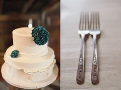 Lace detailed #wedding #cake & beautifully crafted teal flowers! This cake is to die for gorgeous.