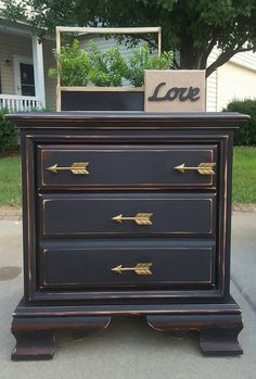 Junk Gypsy Paint Night Stand Refinished in Rebel Child Junk Gypsy Paint Gold Arrow Pulls Check out Perfectly Imperfect Pieces on Facebook...