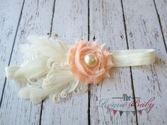 Peach & Ivory Feather Baby Headband   Photo Prop  by TheRogueBaby, $7.95 #wedding #bridal #flowergirl