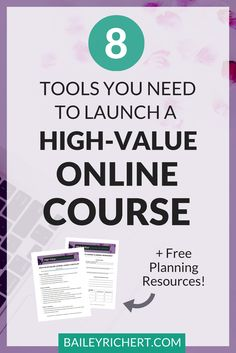 8 Tools You Need to Launch a High-Value Online Course http://baileyrichert.com/8-tools-you-need-to-launch-a-high-value-online-course.html The landscape of online education is changing. No longer can infopreneurs charge premium prices for a playlist of unlisted YouTube videos. Instead, students are demanding more: more engagment, more assistance, more coaching, more bonuses. In a word, they want more value.