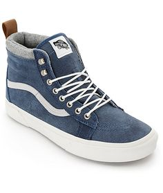 Vans Sk8-Hi MTE Denim Suede Skate Shoes 8ac9de472