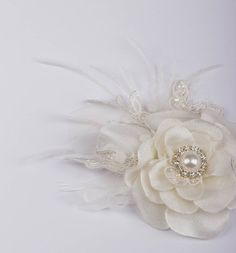 Bridal hair accessories lace flower fascinator Ivory hair flower wedding accessories wedding hairpiece feather fascinator on Etsy, $38.00