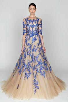 i love this color combo of nude and perwinkle lace