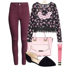 Hanna inspired outfit with floral top. by innadavis on Polyvore featuring H&M, Nine West, Topshop, women's clothing, women's fashion, women, female, woman, misses and juniors