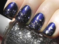 OPI russian Navy with Essie effects silver glitter...