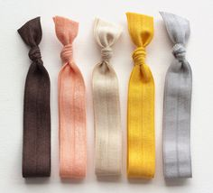 The Rustic Hair Tie Package  5 Elastic Solid Color by ManeMessage, $7.00