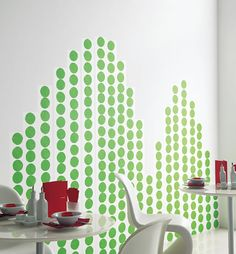 walls decorated with something called giant washi tape - never heard of it but it looks awesome