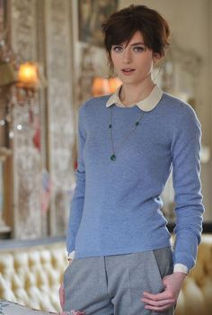 chambray blue jumper, light gray slacks, rounded collar white blouse