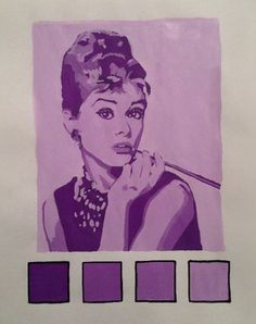 Monochromatic painting by Audrey Hepburn. A picture of Tiffany in many shades of purple. The purple being a somewhat feminine color goes well with this picture.