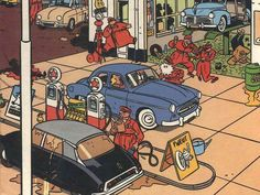 A Citroën DS and a Peugeot 403 at a gas station. From a comic strip by Yves Chaland (1957 - 1990) - a French cartoonist