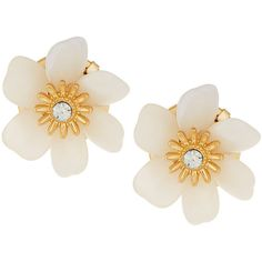 Lydell Nyc Golden Flower Button Earrings (94 DKK) ❤ liked on Polyvore featuring jewelry, earrings, accessories, beige, earrings jewelry, crystal jewellery, flower jewelry, crystal earrings and lydell nyc jewelry