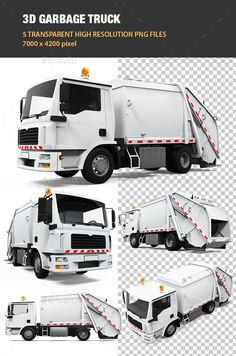 5 high quality renders of garbage truck with 70004200 pixel resolution. Files included: 5 png files without background.