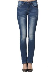 Camii Mia Women's Mid Rise Slim Fit Fleece Skinny Jeans (31, Blue) ** See this awesome image @