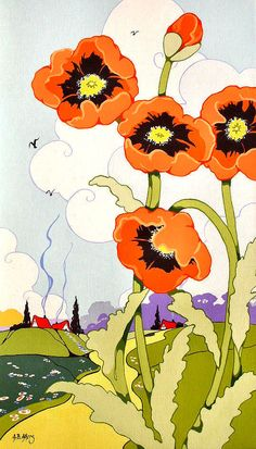 Retro Deco Note Card from original Meadow Poppies Painting Alida Akers
