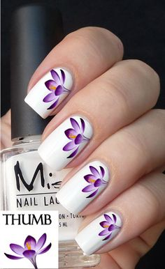 purple flower arrangement nail decals nail decal by DesignerNails, $3.95