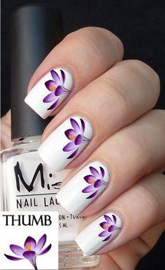 purple flower arrangement nail decals nail decal by DesignerNails, $3.95
