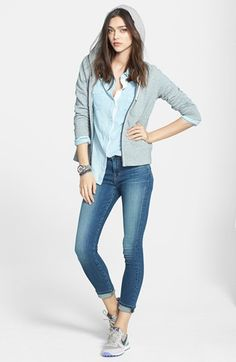 James Perse Hoodie, Splendid Shirt & J Brand Skinny Jeans  available at #Nordstrom