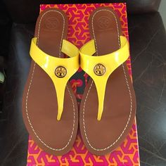 Tory Burch Cameron Thong - Daisy Patent - Size 9 Beautiful Tory Burch Cameron Thong flats!  Worn once - great condition!  Size 9. Color is Daisy patent (yellow). Comes with original box. Tory Burch Shoes Sandals