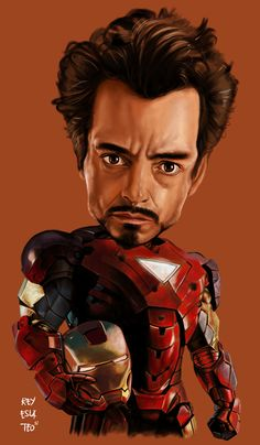 Iron Man - Avengers Caricature FOLLOW THIS BOARD FOR GREAT CARICATURES OR ANY OF OUR OTHER CARICATURE BOARDS. WE HAVE A FEW SEPERATED BY THINGS LIKE ACTORS, MUSICIANS, POLITICS. SPORTS AND MORE...CHECK 'EM OUT!! Anthony Contorno Sr
