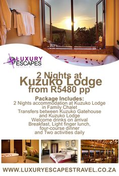 Luxury Escapes Travel Special Offer: 2 Nights at Kuzuko Lodge from R5480 pp. Package Includes: 2 Nights accommodation at Kuzuko Lodge in Family Chalet. Transfers between Kuzuko Gatehouse and Kuzuko Lodge. Welcome drinks on arrival. Breakfast, Light finger lunch, four-course dinner. Choose Two activities daily.  Enjoy!