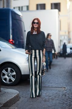 Taylor Tomasi Hill and those graphic striped pants #stockholmstreetstyle