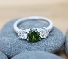 Peridot and lab diamond Solid Sterling Silver Trilogy 3 stone Ring - engagement ring - wedding ring by TheAladdinsCave on Etsy https://www.etsy.com/il-en/listing/243127148/peridot-and-lab-diamond-solid-sterling