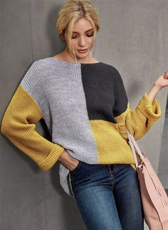 Rundhalsausschnitt Farbblock lose regelmäßige Pullover Source by Knitwear Fashion, Knit Fashion, Fashion Tips, Vogue Knitting, Baby Knitting, Knitting Yarn, Knitting Designs, Knitting Patterns, Crochet Clothes