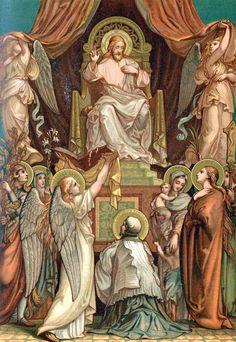 Vincent de Paul before the Sacred Heart Religion Catolica, Catholic Religion, Catholic Art, Catholic Saints, Religious Icons, Religious Art, Rennaissance Art, Christ The King, Jesus Art