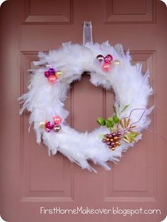 first home makeover: Feather Wreath