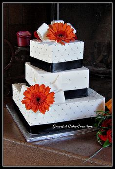 Classic Black and White Wedding Cake by Graceful Cake Creations, via Flickr