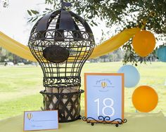 Hot Air Balloon Wedding Invitations, table signs and place cards with a Hot Air Balloon Cork Cage for a rustic or vineyard wedding. - Wine C...