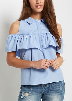 Show off a little skin in this flirty and fun woven top. It's designed with cold shoulders and boasts a flounce across the button down bodice. Finished with a fold-over collar. Shirts For Teens, Outfits For Teens, Summer Outfits, Chic Outfits, Fashion Outfits, Womens Fashion, Easy Day, Cold Shoulder Blouse, Rue 21